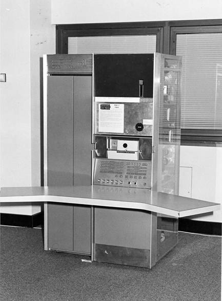 PDP-7 S#47 on display in the DEC Sydney office around 1981 ©2009 Max Burnet, click for larger image